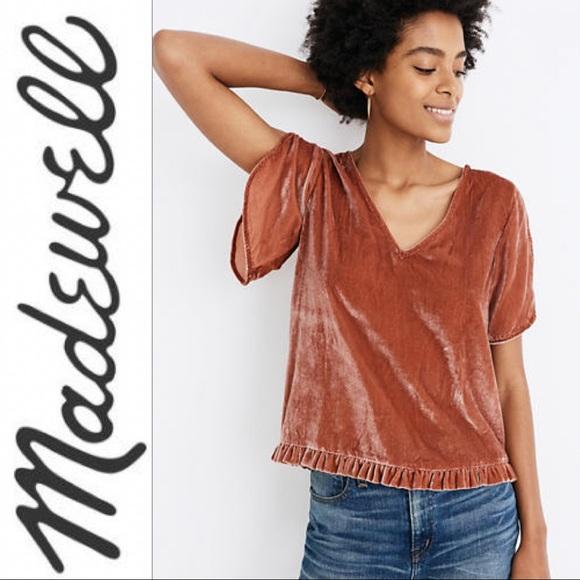 Madewell Tops - Madewell   Mauve Velvet Ruffled Blouse XS